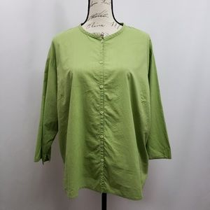 Eileen Fisher Plus Size Button Up Blouse 2X